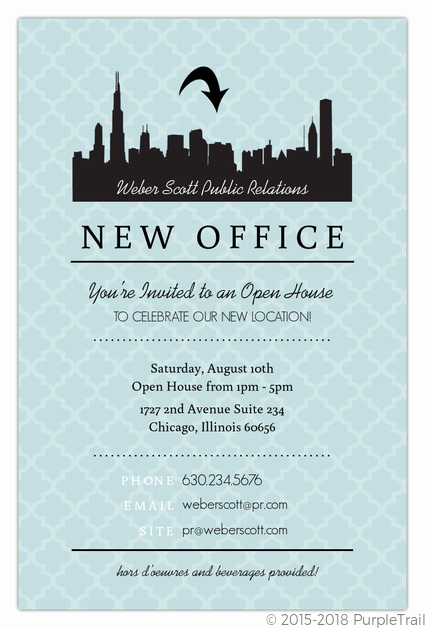 Open House Invitation Sample New Blue Skyline Open House Invitation