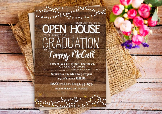 Open House Party Invitation Wording Elegant Open House Graduation Invitation Rustic Wood Graduation