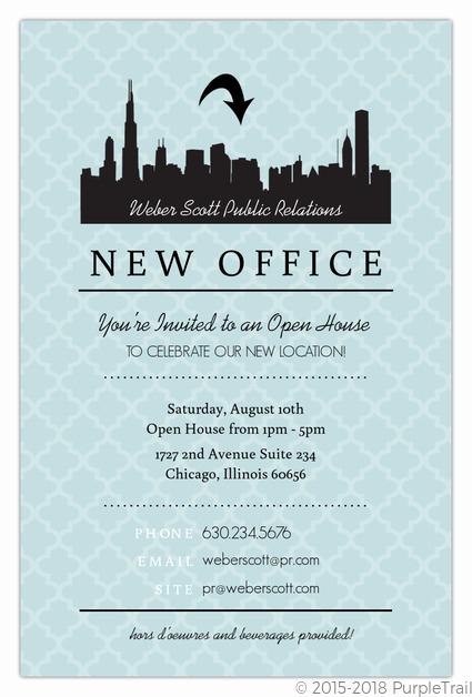 Open House Party Invitation Wording Lovely Blue Skyline Open House Invitation
