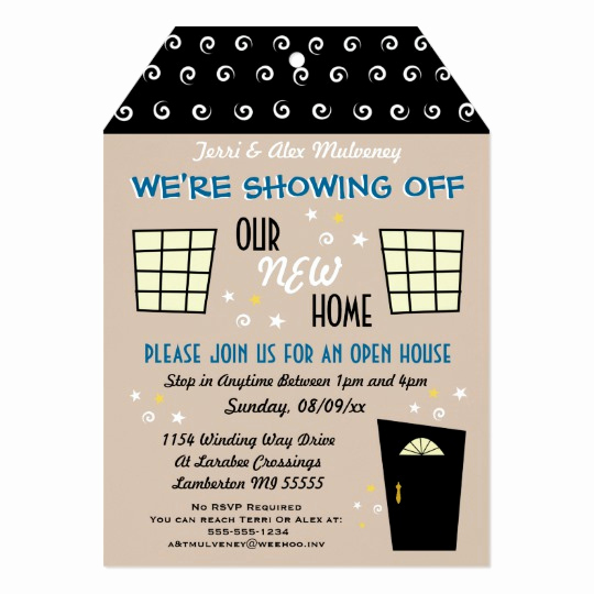Open House Party Invitation Wording Lovely Whimsical Tag Cut Open House Invitation