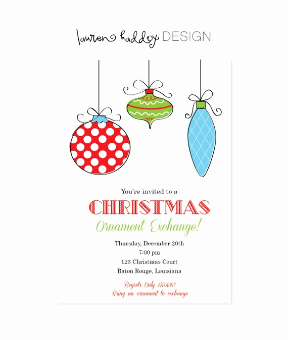 Ornament Exchange Invitation Wording Elegant Diy ornament Exchange Invitation by Lauren Haddox Design