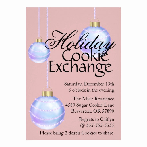 Ornament Exchange Invitation Wording Elegant Hanging ornaments Cookie Exchange Holiday Invite