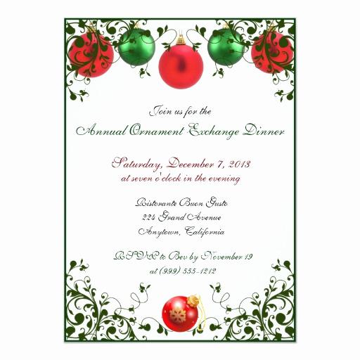 Ornament Exchange Invitation Wording Inspirational Christmas ornament Exchange Dinner Invitations