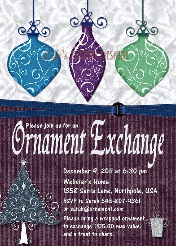 Ornament Exchange Invitation Wording Lovely Items Similar to ornament Exchange Invitation Holiday