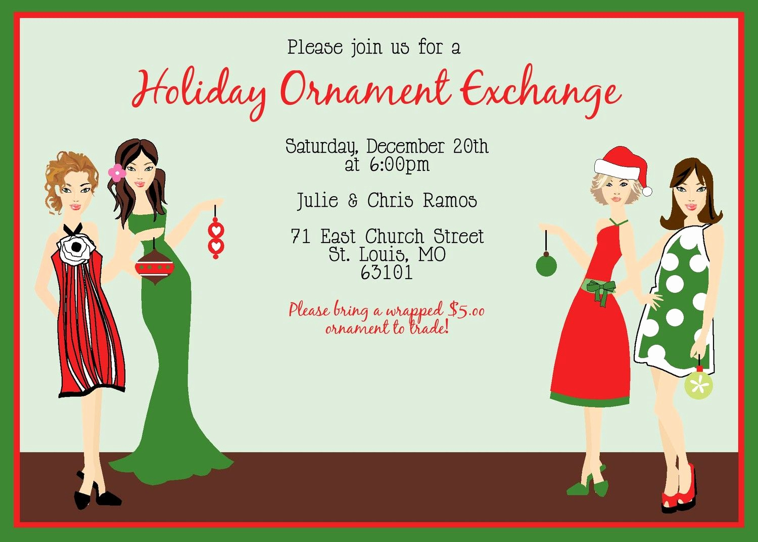 Ornament Exchange Invitation Wording New ornament Party Ideas