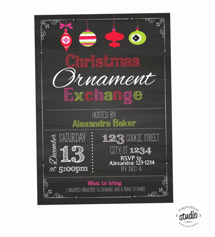 Ornament Exchange Invitation Wording Unique Christmas ornament Swap or Exchange Invite Chalkboard Style