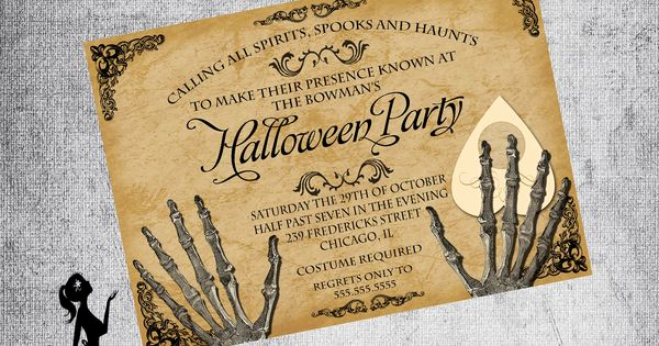 Ouija Board Invitation Template Elegant Gothic Invitation Adult Halloween Party