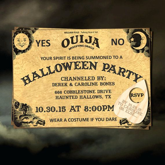Ouija Board Invitation Template Elegant Halloween Party Invitation Printable Invitation Ouija