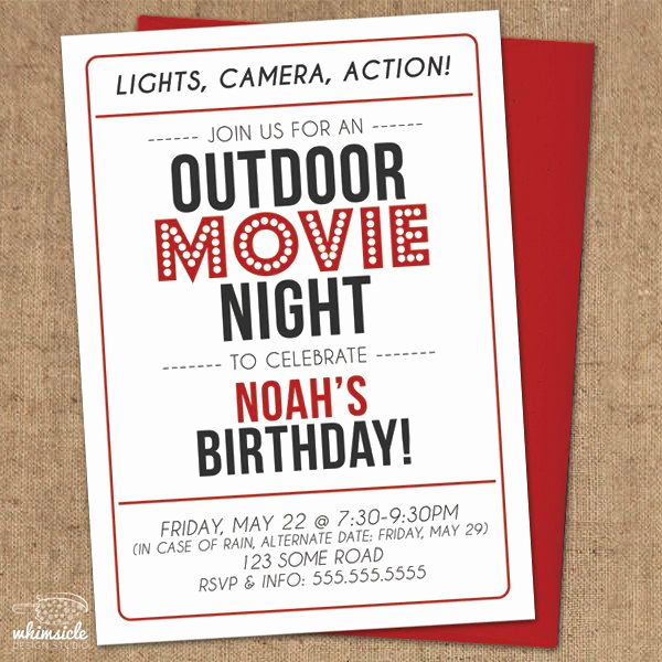 Outdoor Movie Night Invitation Best Of Movie Night Invitation Diy Printable Outdoor Backyard