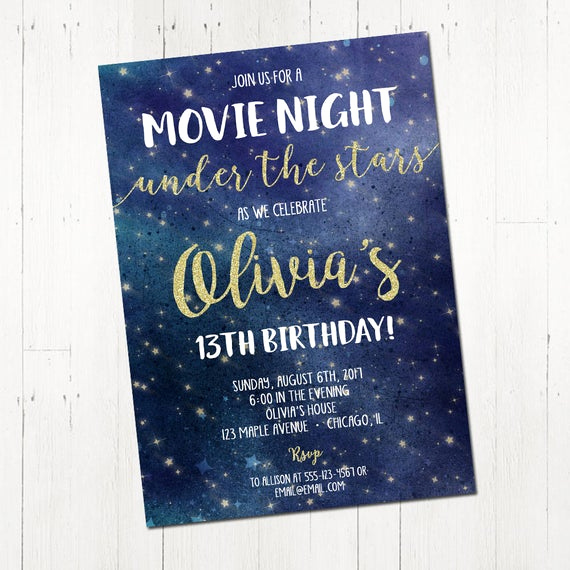 Outdoor Movie Night Invitation Best Of Movie Night Invitation Movie Under the Stars Invitation
