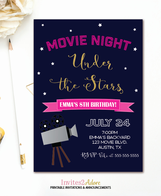 Outdoor Movie Night Invitation Elegant Movie Night Birthday Invitation Outdoor Movie Party
