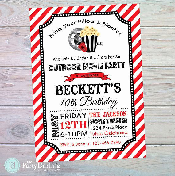 Outdoor Movie Night Invitation Fresh 25 Best Ideas About Outdoor Movie Birthday On Pinterest