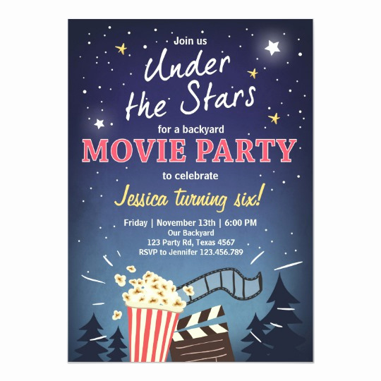 Outdoor Movie Night Invitation Inspirational Movie Night Birthday Invitation Under the Stars