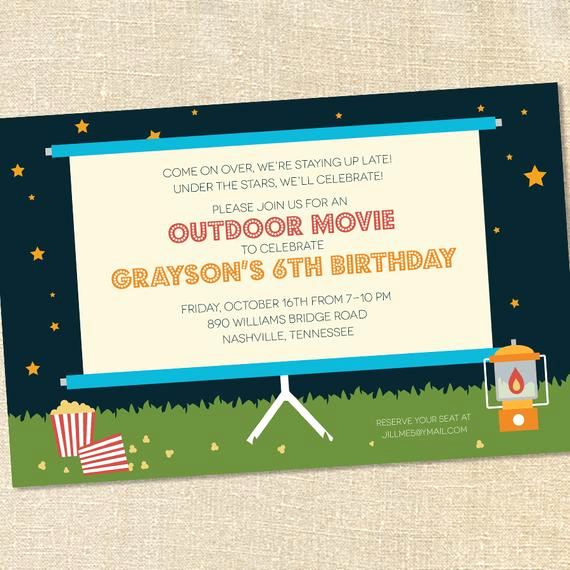 Outdoor Movie Night Invitation Lovely Sweet Wishes Outdoor Movie Under the Stars Party Invitations