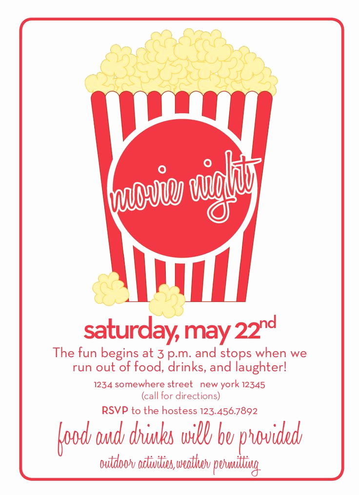 Outdoor Movie Night Invitation Luxury 33 Best Movie Invitations Images On Pinterest
