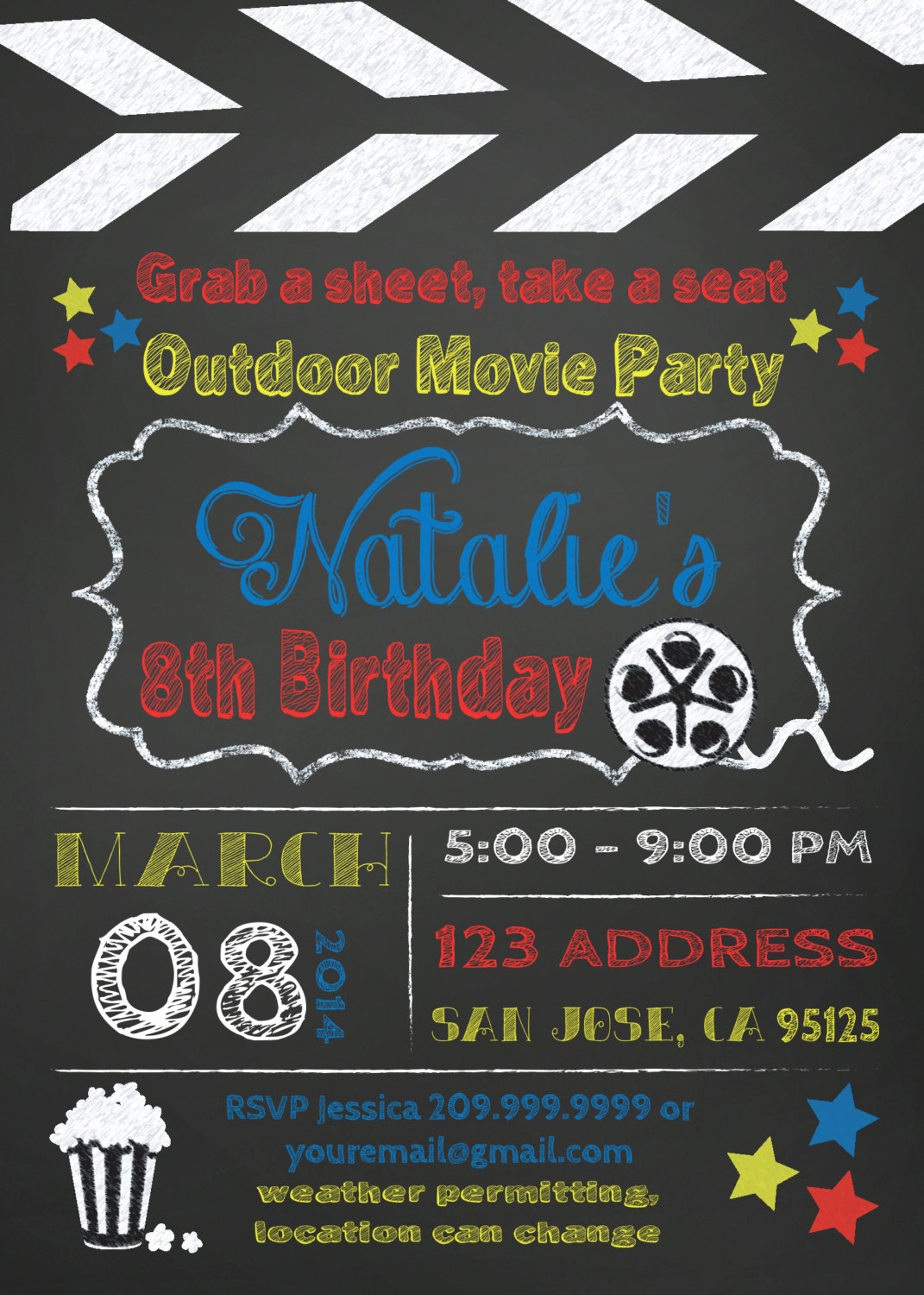 Outdoor Movie Night Invitation New Movie Party Outdoor Movie Invitation