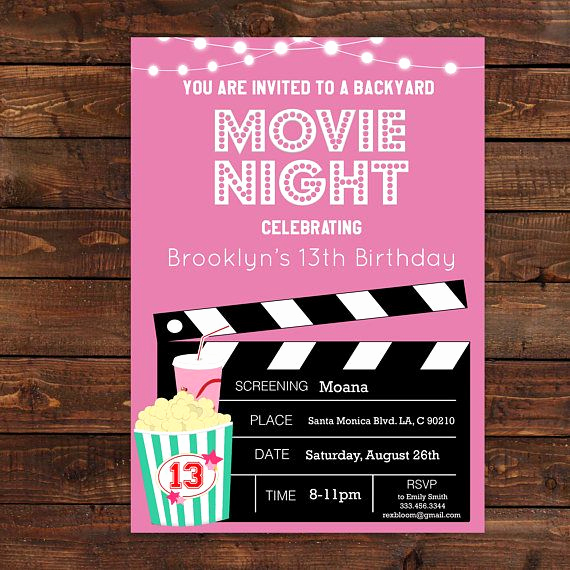Outdoor Movie Night Invitation New Pink Girls Movie Night Party Invitation Pink Movie