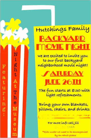 Outdoor Movie Night Invitation Unique Bird and Berry Backyard Movie Night