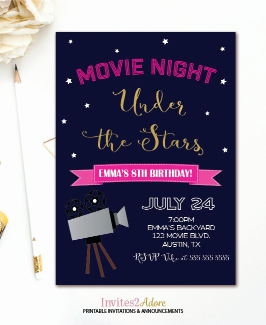 Outdoor Movie Night Invitation Unique Movie Night Birthday Invitation Under the Stars Outdoor