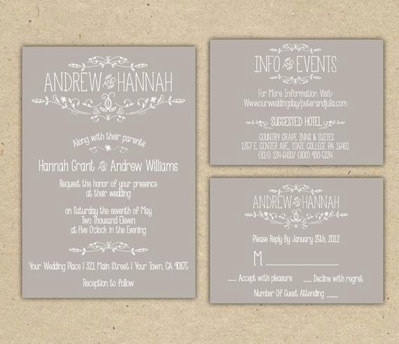 Outdoor Wedding Invitation Wording Best Of Items Similar to Vintage Wedding Invitation P R I N T E D