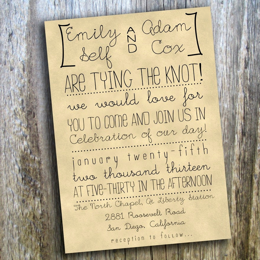 Outdoor Wedding Invitation Wording Inspirational Printable Wedding Invitation Hand Drawn Rustic Casual