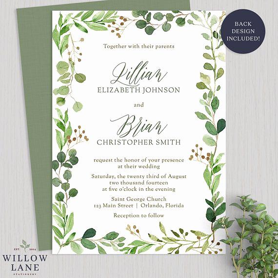 Outdoor Wedding Invitation Wording Luxury Watercolor Greenery Wedding Invitation Botanical Wedding