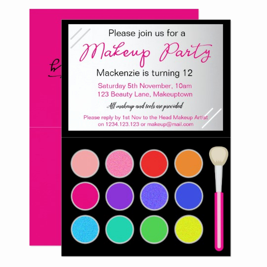 Paint Palette Invitation Template Awesome Makeup Palette Party Invitation