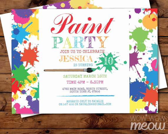Paint Palette Invitation Template Awesome Paint Party Invite Art Birthday Invitation Any Age Instant