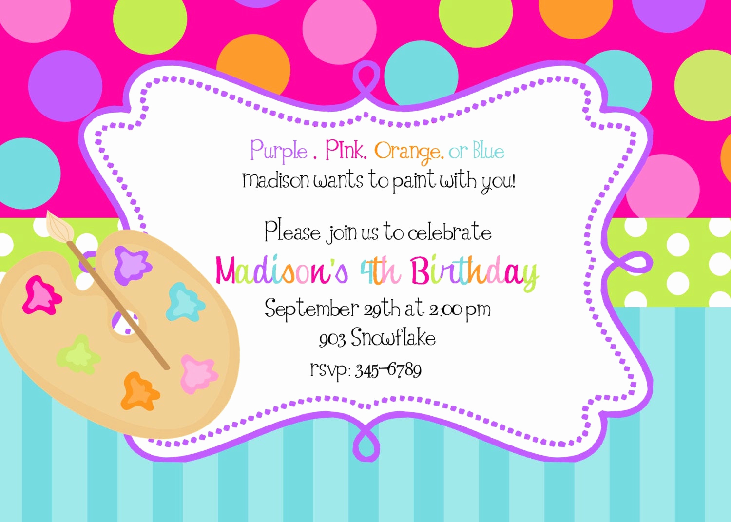 Paint Palette Invitation Template Elegant Art Painting Birthday Party Invitations Art Party Printable