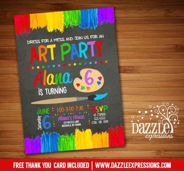 Paint Palette Invitation Template Fresh Printable Chalkoard Painting Art Party Birthday Invitation