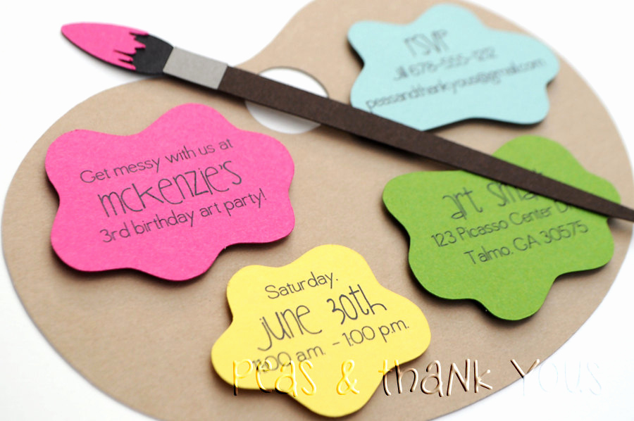 Paint Palette Invitation Template Fresh Signature Artist S Palette Birthday by Peasandthankyous On