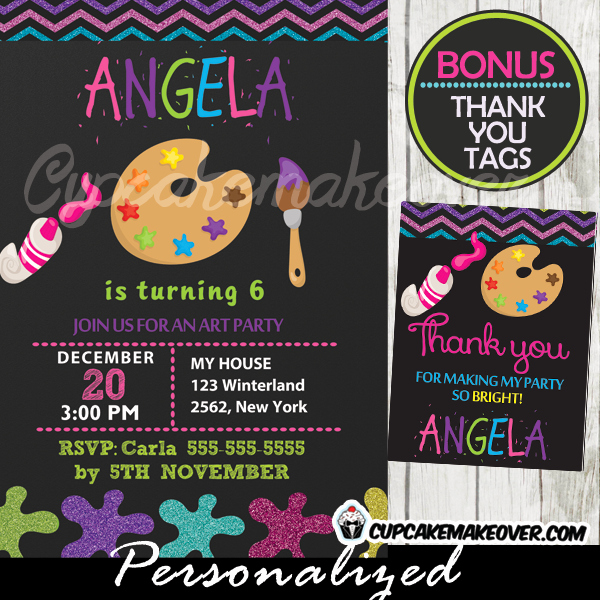 Paint Palette Invitation Template Inspirational Paint Palette Art Party Invitation Chalkboard
