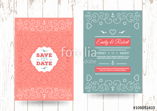 "Paint Palette Invitation Template Lovely ""wedding Invitation Card Template Nautical Save the Date"