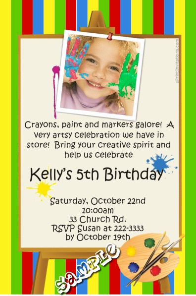 Paint Palette Invitation Template Luxury Painting Birthday Invitations All Colors