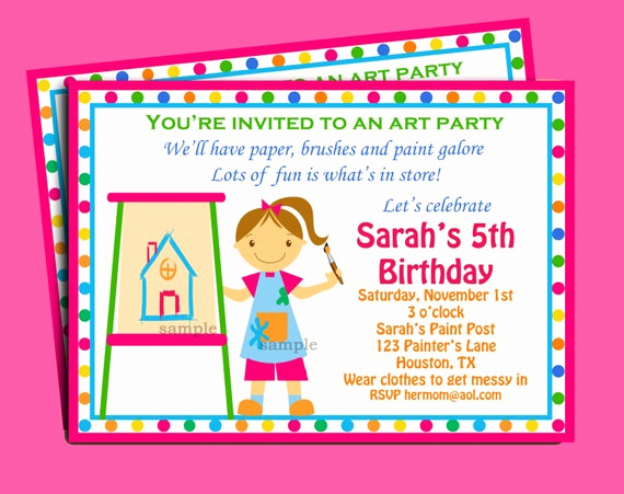 Paint Party Invitation Wording Awesome Painting Art Party Birthday Invitation Printable or Printed