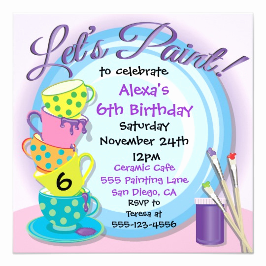 Paint Party Invitation Wording Beautiful Ceramic Pottery Painting Party Invitations
