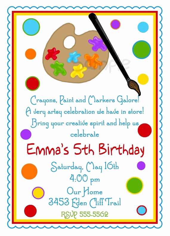 Paint Party Invitation Wording Best Of Art Invitations Art Party Painting Birthday Party Paint