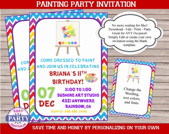 Paint Party Invitation Wording Best Of Painting Party Invitation Editable Invitation You Choose the
