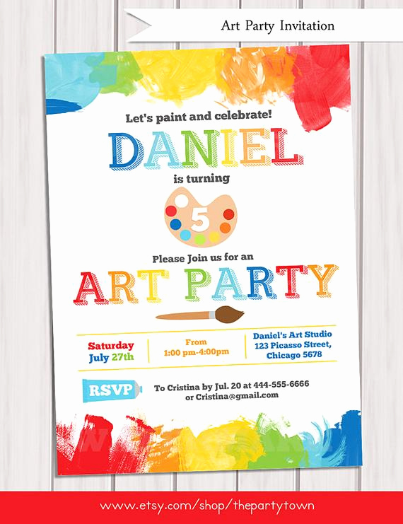 Paint Party Invitation Wording Elegant Art Party Invitation Printable Rainbow Paint Party Birthday