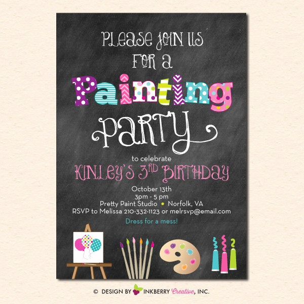 Paint Party Invitation Wording Fresh Painting Art Party Invitation Chalkboard Style with Art