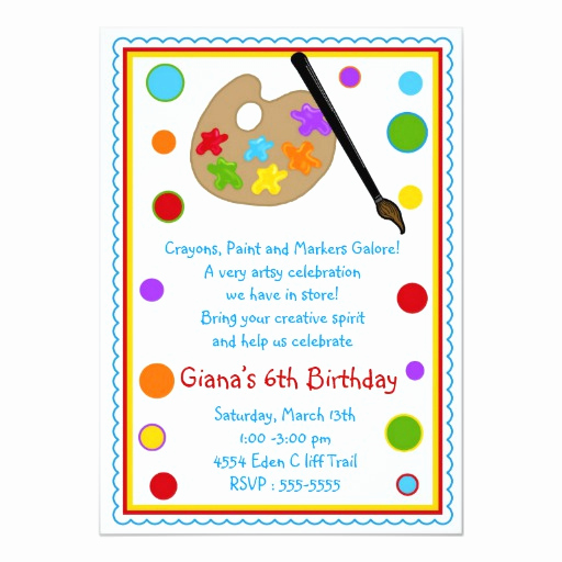 Paint Party Invitation Wording Inspirational Art Paint Craft Birthday Party Invitations
