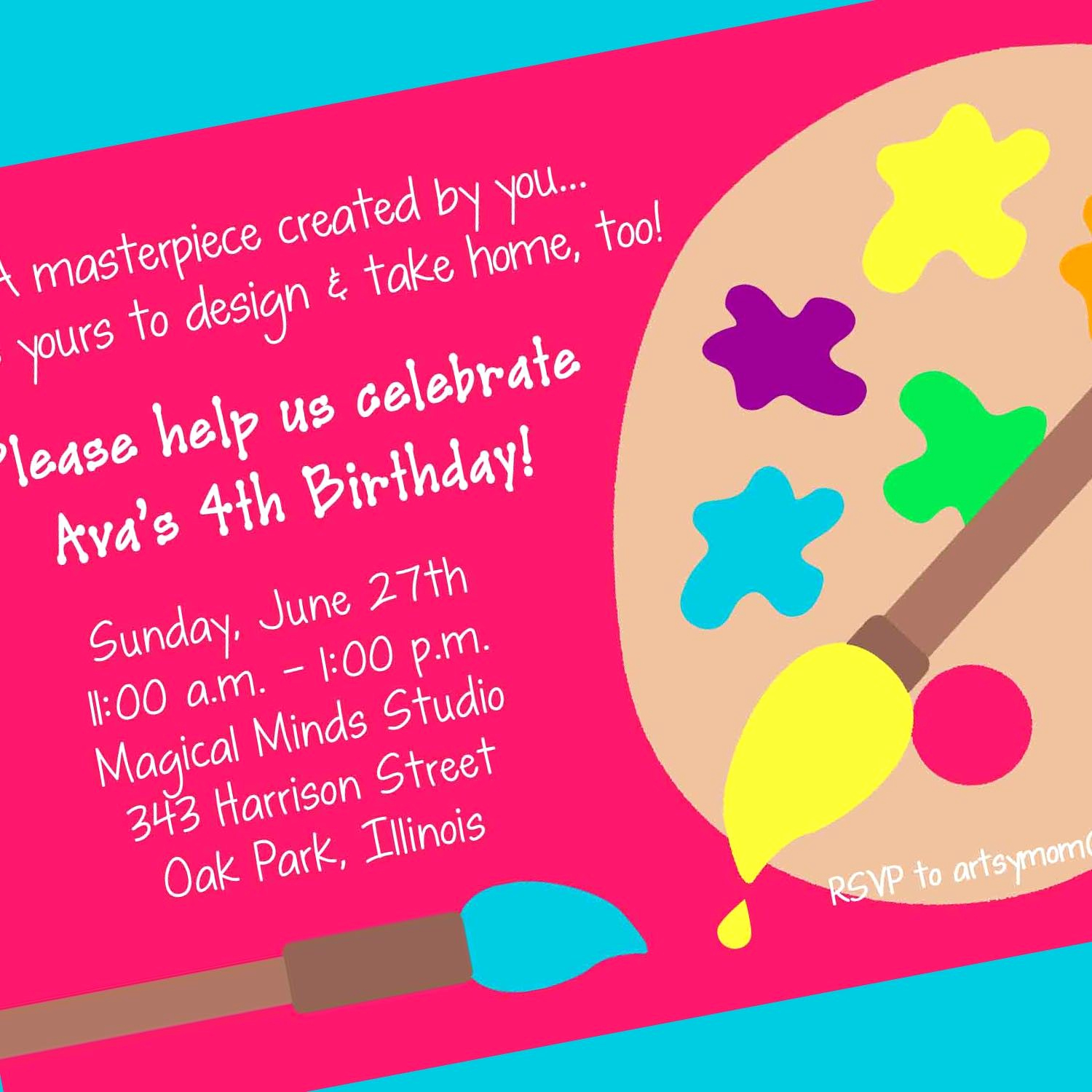 Paint Party Invitation Wording Lovely Art Party Invitation Art Party Printable Invitation