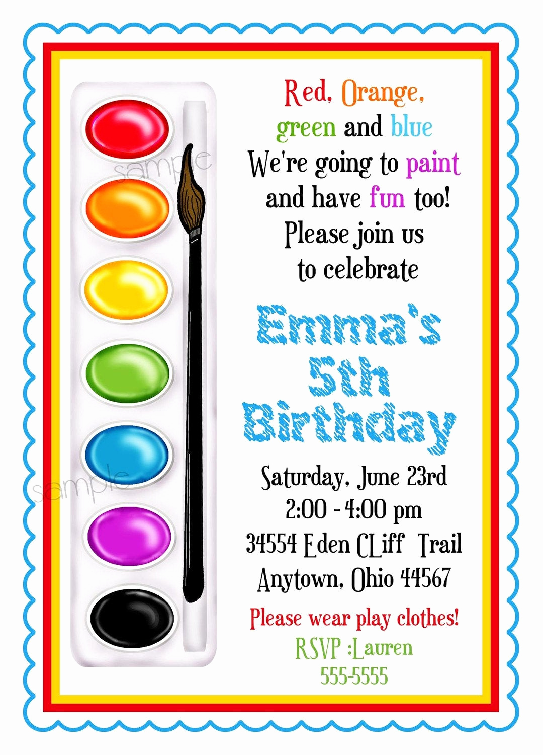 Paint Party Invitation Wording Luxury Art Invitations Painting Party Birthday Party Paint Box