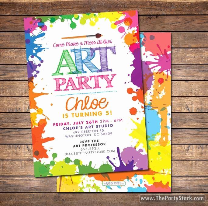 Paint Party Invitation Wording Luxury Art Paint Party Invitations Printable Birthday Invitation
