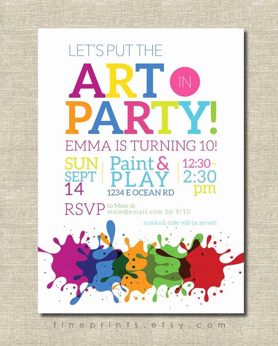 Paint Party Invitation Wording Luxury Art Party Invitation Painting Party Art Birthday by