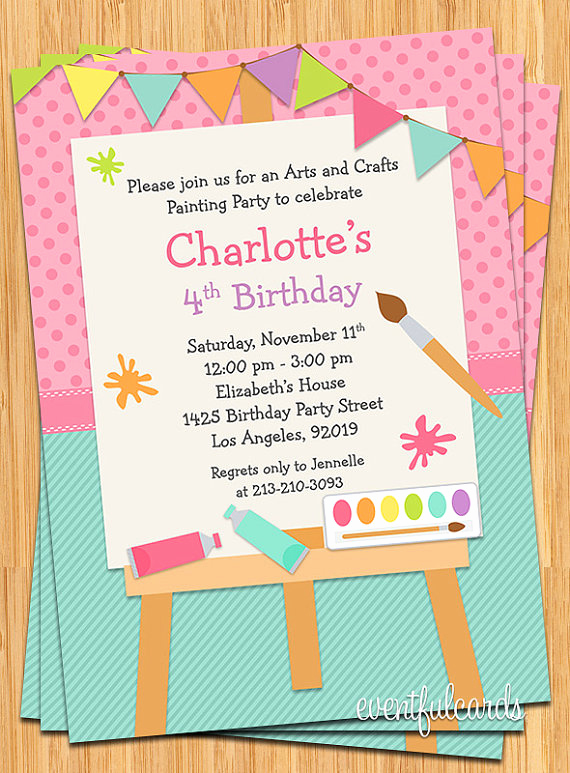 Paint Party Invitation Wording New Art Painting Birthday Party Invitation for Kids Printable