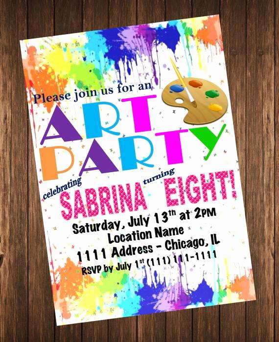 Paint Party Invitation Wording New Art Party Invitation Rainbow Paint Splatter Birthday Party