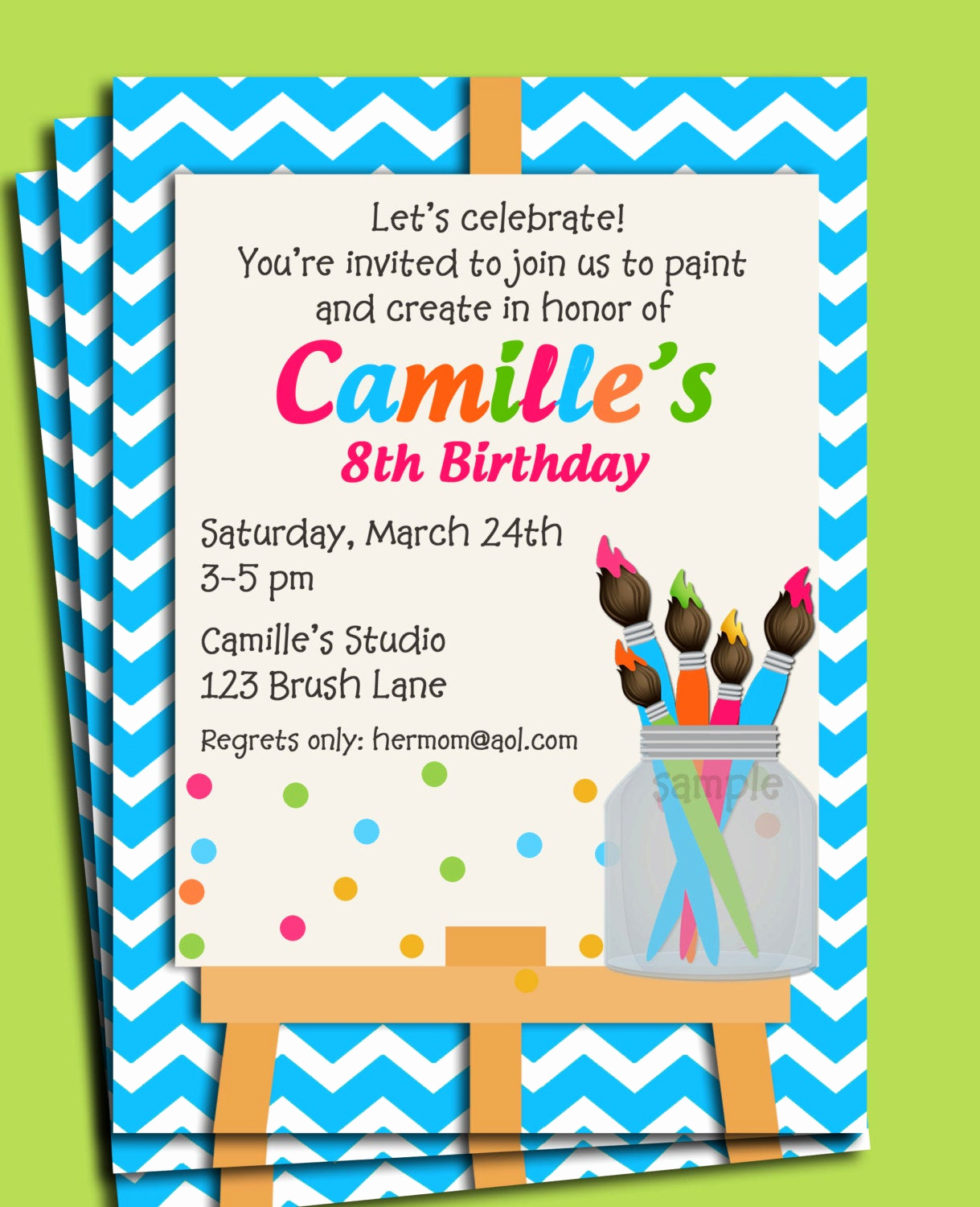 Paint Party Invitation Wording Unique Painting Art Party Birthday Invitation Printable or Printed