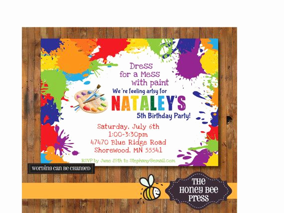 Painting Party Invitation Template Awesome Art Party Invitation Splatter Paint Birthday Invitation