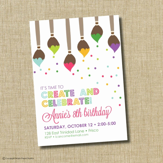 Painting Party Invitation Template Awesome Paint Party Invitation Art Birthday Party by